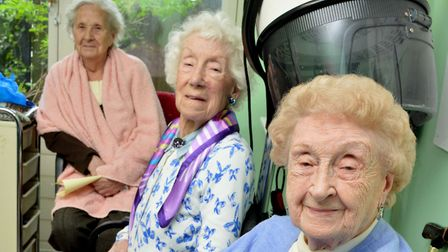 Gladys Bolton (86), Florrie Searle (93) and Edna Newman (93) at Sotheby Mews Day Centre in March. Us