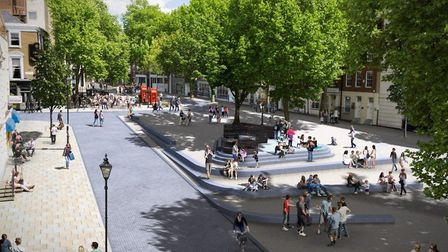 An artist's impression of the Clerkenwell Green plans, looking out towards Aylesbury Street. Pictur