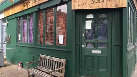 Squatters have moved into The Hopsmiths pub in Crouch Hill and put up bed sheets in the windows. Pic
