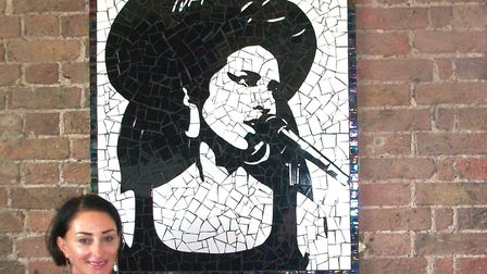Sally Kendall and her Amy Winehouse mosaic at the Hawley Arms. Credit: Sally Kendall