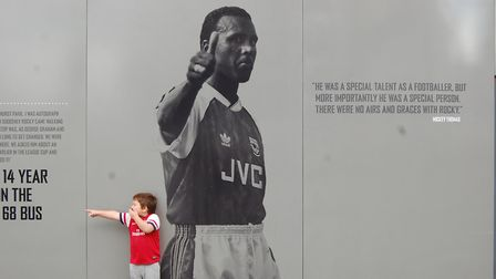 Arsenal Friday Fanzone Q&A - Jakarta Casual - picture of his 'little Gooner' with Rocky at the Emira