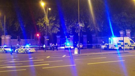 Police at the scene of the stabbing in Manor House. Picture: @999London