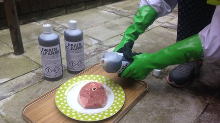 During a test drain unblocker containing 96 per cent proof sulphuric is poured onto a lamb steak
