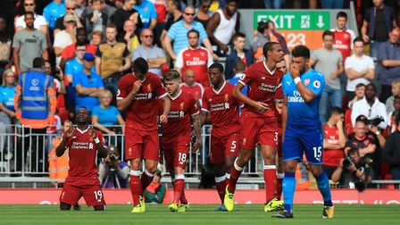 Liverpool's Sadio Mane celebrates scoring his side's second goal of the game during the Premier Leag