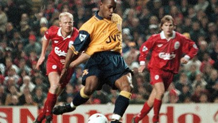 Arsenal's Ian Wright steps up to slot home from the penalty spot at Anfield in 1996, Arsene Wenger's
