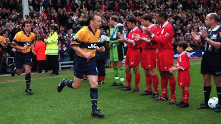 Arsenal are given a guard of honour at Anfield after winning the Premier League title in 1998 (pic D