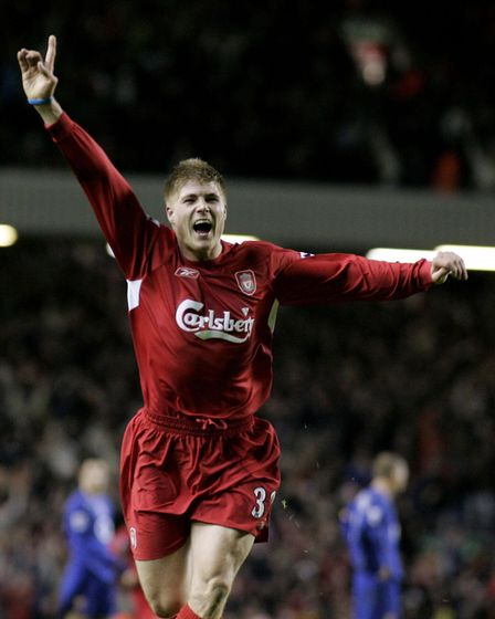 Neil Mellor celebrates his injury-time winner for Liverpool against Arsenal at Anfield in 2004 (pic