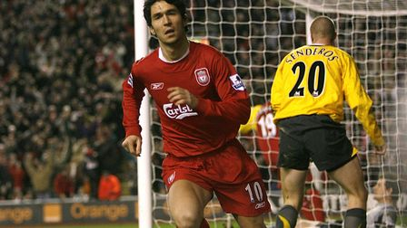Liverpool's Luis Garcia celebrates his winning goal against Arsenal at Anfield in 2006 (pic Martin R