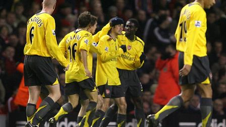 Arsenal's Tomas Rosicky (centre) celebrates scoring in his side's FA Cup win over Liverpool at Anfie