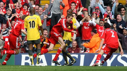 Liverpool's Peter Crouch scored a hat-trick against Arsenal in his side's win at Anfield in 2007 (pi