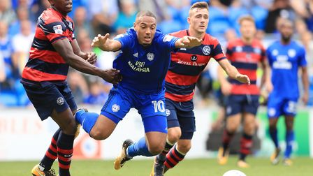 Cardiff City's Kenneth Zohore (centre) is fouled by Queens Park Rangers' Nedum Onuoha during their S