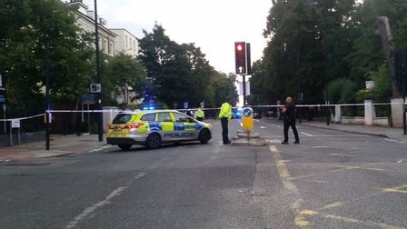 A cyclist was killed in Camden Road on Tuesday morning. Picture: @sidman10001/Twitter