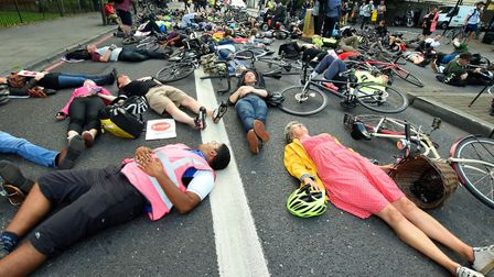 The Stop Killing Cyclists 'die-in' protest in Camden Road, Holloway. Picture: Polly Hancock