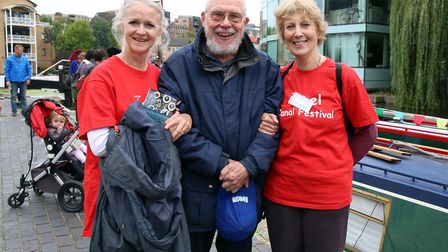 Long-term organisers Sasha Mears, left, and Beryl Windsor, right, with Roger Squires at Angel Canal