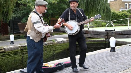Duet Spit and Sawdust play at Angel Canal Festival. Picture: Catherine Davison