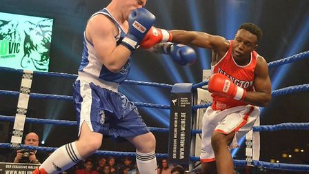 Viddal Riley, of West Ham ABC, throws a punch while competing as a guest boxer for Islington Boxing
