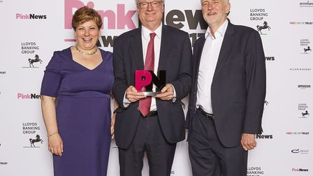 Former Islington South and Finsbury MP Chris Smith is presented with the Pink News lifetime achievem
