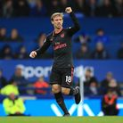 Arsenal's Nacho Monreal celebrates scoring his side's first goal of the game during the Premier Leag