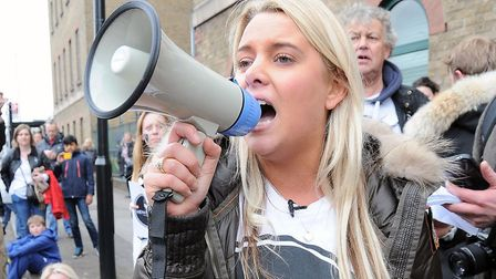 """Claudia Hicks, pictured at the Islington Police Station march in April 2015, said she is """"beyond dis"""