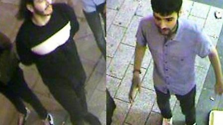 Police want to speak to these two suspects after a man was assaulted in City Road on July 27. Pictur