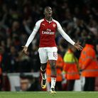 Arsenal's Edward Nketiah celebrates scoring his side's second goal of the game during the Carabao Cu