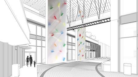 Rana Begum is proposing two options, the first of which uses laminated glass panels set into the wal