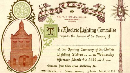 An invitation to the opening ceremony at Islington's electricity centre, in Eden Grove, from 1896. P