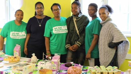 Annette Willis and Jackie Campbell with volunteers at a Macmillan Coffee Morning (Picture: Jackie