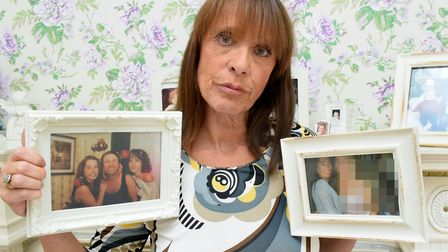 Maxine Harrison with family photos of her sister Jane. Picture: Polly Hancock