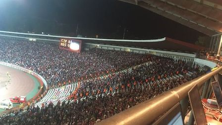 Arsenal fans at Red Star Belgrade Credit @laythy29 Instagram and Twitter