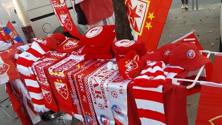 A souvenir stall at Red Star Belgrade. Credit @laythy29 Instagram and Twitter