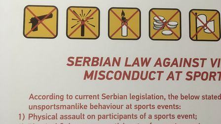 No Guns allowed - Red Star Belgrade stadium rules. Credit @laythy29 Instagram and Twitter