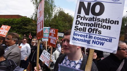 Housing protesters at the prison site last year. Picture: KEN MEARS