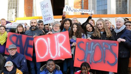 Neighbours with Cllr Caroline Russell, centre, protesting against Sainsbury's last year. Picture: Di