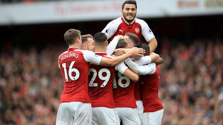 Arsenal's Nacho Monreal celebrates scoring his side's first goal of the game with teammates during t