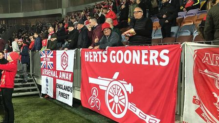 Loyal Arsenal fans at the Europa League game against BATE Borisov in Belarus