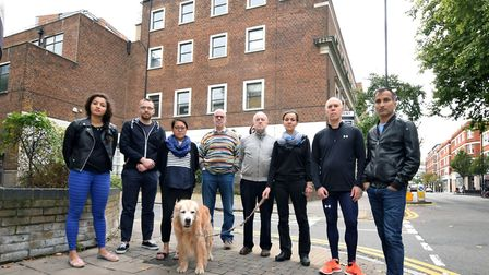 Neighbours of Laser House at the junction of Goswell Road and Pear Tree Street. From left: Sonia Rai