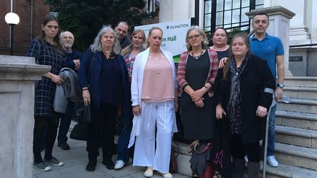 Members of Islington Survivors Network and supporters of the group outside Islington Town Hall befor