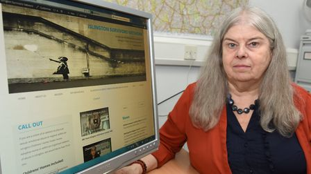 Dr Liz Davies, pictured last year with the then-new Islington Survivors Network website. Picture: Ke