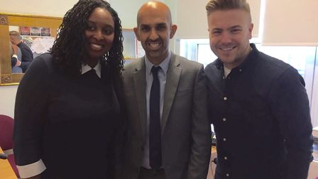 Dawn Butler MP with Asif Iqbal and Wayne Barrow at the Channel 4 Political Slot filming location.