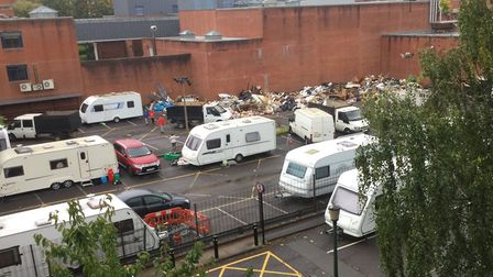 Travellers have moved into the Holloway Prison site and rubbish has started being dumped in the car
