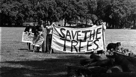 'Save the trees' campaigners in Highbury Fields in 1975 after the council said it wanted to fell 31