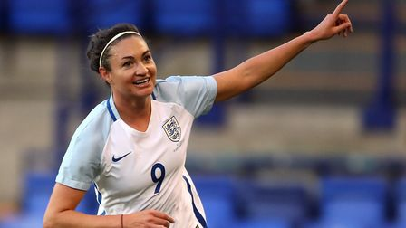 Arsenal's Jodie Taylor celebrates scoring England's second goal against Russia (pic Nick Potts/PA)