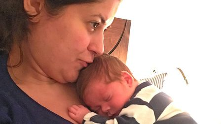 Emily Shaw with baby James. Picture: Pete Shaw