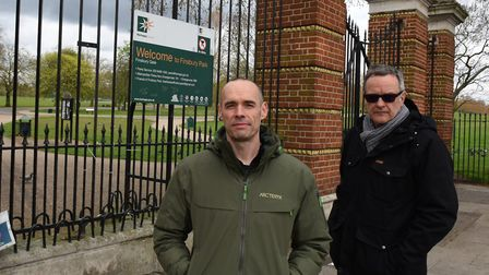 Tom Palin and Jeremy Llewellyn-Jones of the Friends of Finsbury Park are against Haringey Council al