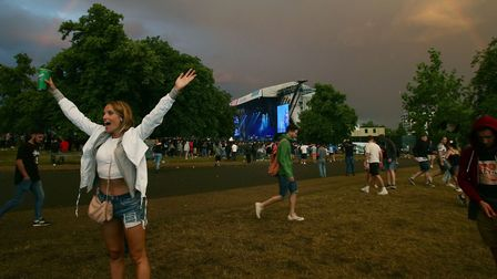A rainbow appears over the Main Stage at the Wireless Festival in Finsbury Park, north London.