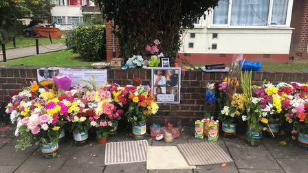 Tributes on Tanfield Avenue where Saif was fatally stabbed
