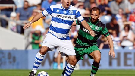 Paul Merson holds off Jody Morris during the charity football match to raise funds for Grenfell Towe
