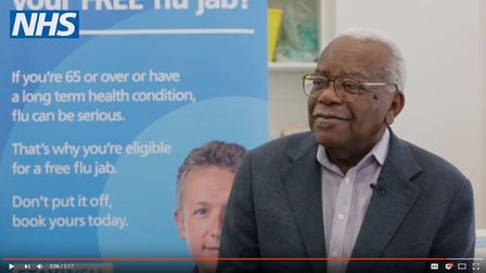 Sir Trevor McDonald is urging over 65s to get a flu jab (Picture: NHS)