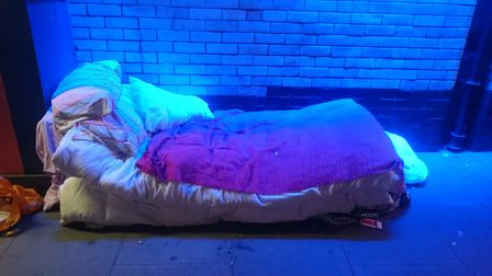 A makeshift bed under the Stroud Green Road bridge. Picture: Loretta Thomas